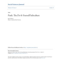 Punk: The Do-It-Yourself Subculture Research Paper